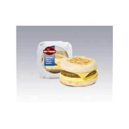 Advance Pierre Hot N Ready Sausage, Egg And Cheese Muffin Sandwich, 4.8 Ounce - 12 Per Case.