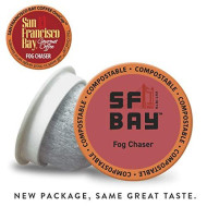 SF Bay Coffee Fog Chaser 12 Ct Medium Dark Roast Compostable Coffee Pods, K Cup Compatible including Keurig 2.0 (Packaging May Vary)