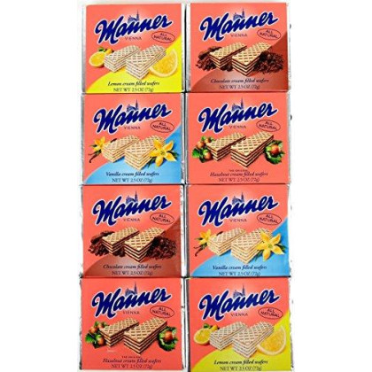 Manner Cream Filled Wafers 4-Flavor Variety: Two 2.5 oz Packages Each of Vanilla, Chocolate, Hazelnut, and Lemon in a BlackTie Box (8 Items Total)