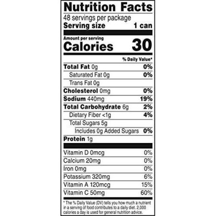V8 Original 100% Vegetable Juice, 5.5 Ounce Can, 48 Count