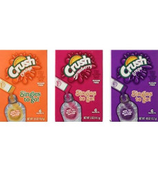 Lot Of 9 Boxes/54Packets- Mixed Variety Crush Sugar Free- Singles To Go! 3 Strawberry, 3 Orange & 3 Grape.