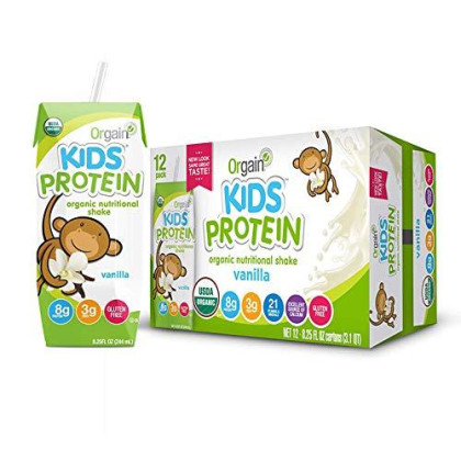 Orgain Organic Kids Protein Nutritional Shake, Vanilla - Great For Breakfast & Snacks, 21 Vitamins & Minerals, 10 Fruits & Vegetables, Gluten Free, Soy Free, Kosher, Non-Gmo, 8.25 Ounce, 12 Count
