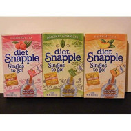 Lot Of 6 Boxes/36Packets- Mixed Variety Diet Snapple Sugar Free- Singles To Go! 2 Raspberry, 2 Peach, & 2 Original Green Tea.