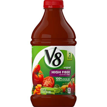 V8 High Fiber 100% Vegetable Juice, 46 Oz. Bottle (Pack Of 6)