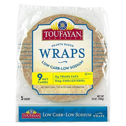Toufayan Bakeries Low Carb/Low Sodium Wrap, Large 9-inch Burrito Size, 5 wraps