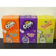 Lot Of 6 (6-Ct.) Box ~Crush & Squirt ~2 Grape, 2 Orange & 2 Squirt. Singles To Go! Sugar Free Drink Mix.