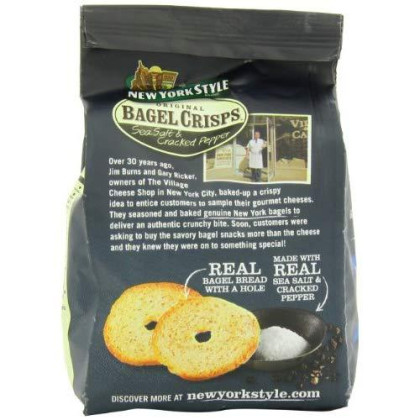 New York Style Bagel Crisps, Sea Salt + Black Pepper, 7.2 Ounce (Pack Of 12)