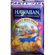 Hawaiian, Kettle Style Potato Chips, Sweet Maui Onion, Party Size, 16oz Bag (Pack of 2)