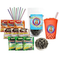 Dede Instant Boba Tea Kit 9 Drink Packets, Straws & Boba Thai, Milk & Green Tea Latte By Buddha Bubbles Boba