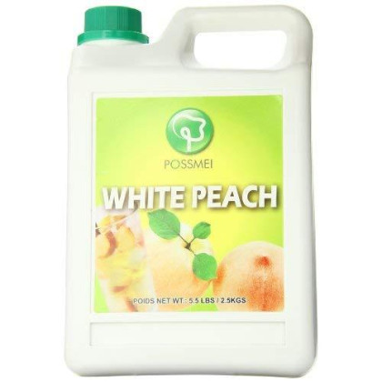 Possmei Flavored Syrup, White Peach, 5.5 Pound