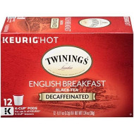 Twinings of London Decaffeinated English Breakfast Tea K-Cups for Keurig, 12 Count