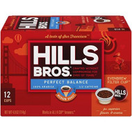 Hills Bros Single Serve Coffee Pods, Perfect Balance Medium Roast - 100% Premium Arabica Coffee - Compatible With Keurig K-Cup Brewers (12 Count)