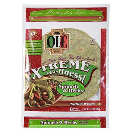Ole Ole Xtreme Wellness, Spinach Wraps, 8 ct