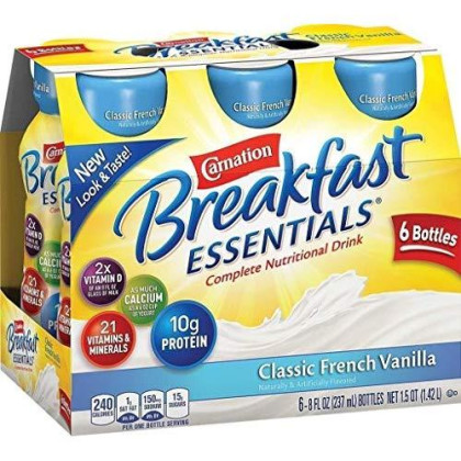 Carnation Breakfast Essentials Ready To Drink 6/8Oz Bottles (Pack Of 3) Total Of 18 - 8Oz Bottles - Choose Flavor Below (Classic French Vanilla)