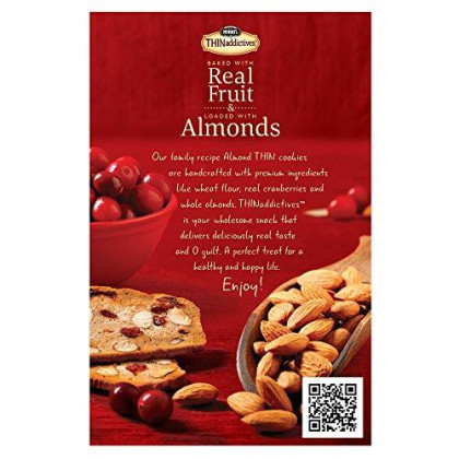 Nonni'S Thinaddictives, Thin Cookies, Cranberry Almond, 6 Count, 4.4 Ounce