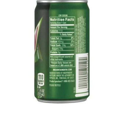 Mountain Dew Soda, 7.5 Ounces (24 Mini Cans)
