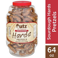 Utz Old Fashioned Sourdough Hards Pretzels - 64 Oz Barrel - Big And Thick Classic Pretzel Knot Twist, Crunchy Sourdough Pretzel With Zero Cholesterol