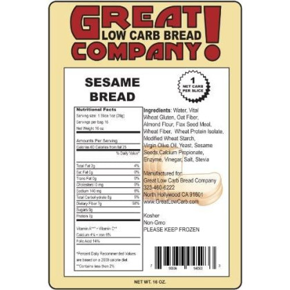 Great Low Carb Bread Co. - Sesame - 3 Loaves