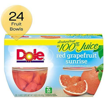 Dole Fruit Bowls Red Grapefruit Sunrise In A Blend Of 100% Fruit Juice, 4 Count Cups (Pack Of 6)