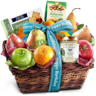 Golden State Fruit Birthday Fruit Basket with Cheese and Nuts