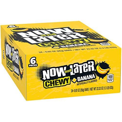 Now & Later Soft Taffy Chews Candy, Banana, 0.93 Ounce Bar, Pack Of 24