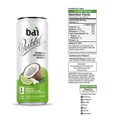 Bai Bubbles, Sparkling Water, Waikiki Coconut Lime, Antioxidant Infused Drinks, 11.5 Fl. Oz Cans, 12 Count