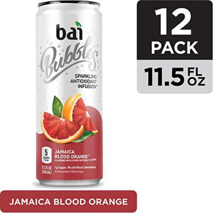 Bai Bubbles, Sparkling Water, Jamaica Blood Orange, Antioxidant Infused Drinks, 11.5 Fl Oz Cans, Pack Of 12