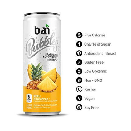 Bai Bubbles, Sparkling Water, Peru Pineapple, Antioxidant Infused Drinks, 11.5 Fl. Oz Cans, 12 Count