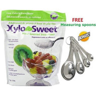 """Xlear Xylosweet Bag, 80 Ounce - With Set Of Free Stainless Steel""""Practick Solutions"""" Measuring Spoons"""