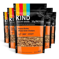 KIND Healthy Grains Clusters, Peanut Butter Whole Grain Granola, 10g Protein, Gluten Free, 11 Ounce (Pack of 6)