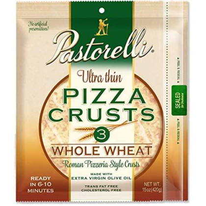 Pastorelli Ultra Thin & Crispy Pizza Crusts 100% Whole Wheat, 3Count (Pack Of 10)