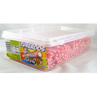 Tuberoos Red Color White Fondant Filled Sour Licorice Sticks, Strawberry Artificially Flavor. - 200 Pieces Tub