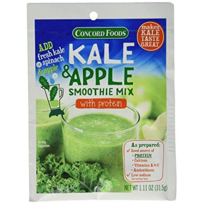 Concord Foods Kale & Apple Smoothie Mix with Protien (Pack o 4) 1.11 oz Packets