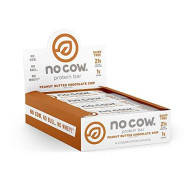 No Cow Protein Bar, Peanut Butter Chocolate Chip, 20G Plant Based Protein, Keto Friendly, Low Carb, Low Sugar, Dairy Free, Gluten Free, Vegan, High Fiber, Non-Gmo, 12Count