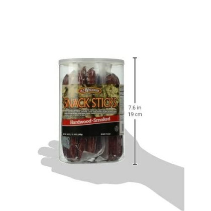 Old Wisconsin Beef Sausage Snack Sticks, Naturally smokd, Ready To Eat, High Protein, Low Carb, Keto, Gluten Free, 24 Ounce Jar