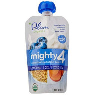 Plum Organics Tots Mighty 4 Purees - Sweet Potato, Carrot, Blueberry, Apple, Greek Yogurt, Millet & Oat - 4 Oz - 6 Pk