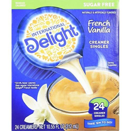International Delight, French Vanilla, Single-Serve Coffee Creamers, 24 Count (Pack Of 6), Shelf Stable Non-Dairy Flavored Coffee Creamer, Great For Home Use, Offices, Parties Or Group Events