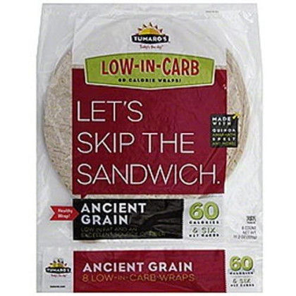 """Tumaro's 8"""" Carb Wise Tortilla Wraps - Ancient Grain - 8 Count - Case of 6"""