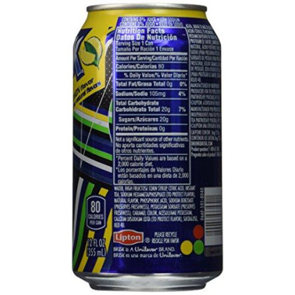 Lipton Brisk Lemon Iced Tea Cans, 12 Fluid Ounce (Pack of 36)