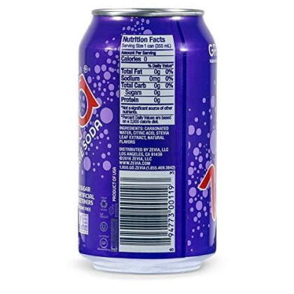 Zevia Zero Calorie Soda, Grape, Naturally Sweetened Soda, (24) 12 Ounce Cans; Grape-Flavored Carbonated Soda; Refreshing, Full Of Flavor And Delicious With No Sugar (Packaging May Vary)