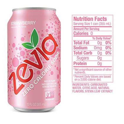 Zevia Zero Calorie Soda, Fruity Variety Pack, Naturally Sweetened Soda, (24) 12 Ounce Cans; Strawberry, Orange, Black Cherry, And Grape-Flavored Carbonated Soda; Full Of Fruity Flavor With No Sugar