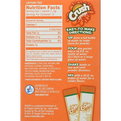 Crush Singles To Go Powder Packets, Water Drink Mix, Orange, Non-Carbonated, Sugar Free Sticks (12 Boxes With 6 Packets Each - 72 Total Servings) - Original Flavor