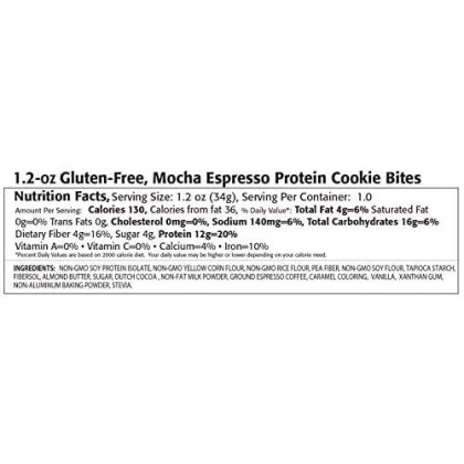 Kay'S Naturals Protein Cookie Bites, Mocha Espresso, Gluten-Free, Low Fat, Diabetes Friendly, All Natural Flavorings, 1.2 Ounce (Pack Of 6)