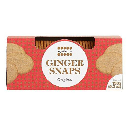 Nyakers Original Swedish Ginger Snaps - Finest Ginger Snaps Original Flavor Swedish Cookie - Perfect Cookies On The Go (Deliciously Baked) - Perfect For Either Snack Or Dessert - 150 Grams (2 Packs)