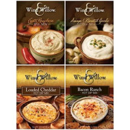 Wind & Willow Dip Mix 4 Flavor Variety Bundle: Loaded Cheddar, Bacon Ranch, Asagio & Roasted Garlic And Fiesta Ranchero (4 Packs Total)
