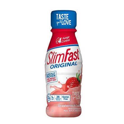 Slimfast Original Ready To Drink Meal Replacement Shakes - 10G Of Protein - Strawberries & Cream, 8Count (Pack Of 3)
