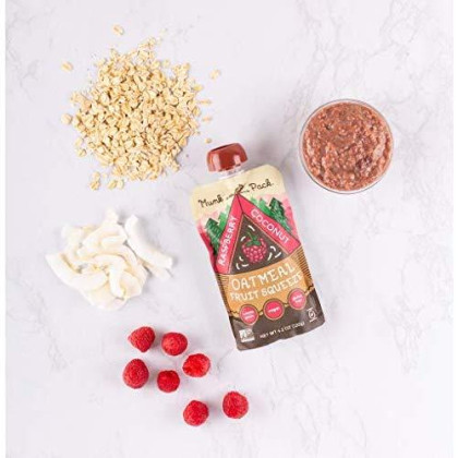 Munk Pack Oatmeal Fruit Squeeze Raspberry Coconut | Ready To Eat Oatmeal On The Go | Good Source Of Fiber | 4.2Oz | 6 Pack