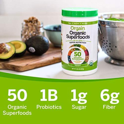 Orgain Organic Green Superfoods Powder, Original - Antioxidants, 1 Billion Probiotics, Vegan, Dairy Free, Gluten Free, Kosher, Non-Gmo, 0.62 Pound (Packaging May Vary)