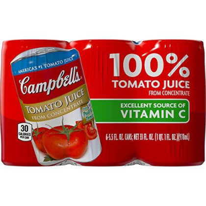 Campbell'S Tomato Juice, 5.5 Oz. Can, 6 Count (Pack Of 8)