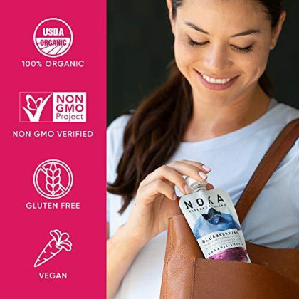 Noka Superfood Pouches (Blueberry Beet) 6 Pack | 100% Organic Fruit And Veggie Smoothie Squeeze Packs | Non Gmo, Gluten Free, Vegan, 5G Plant Protein | 4.2Oz Each